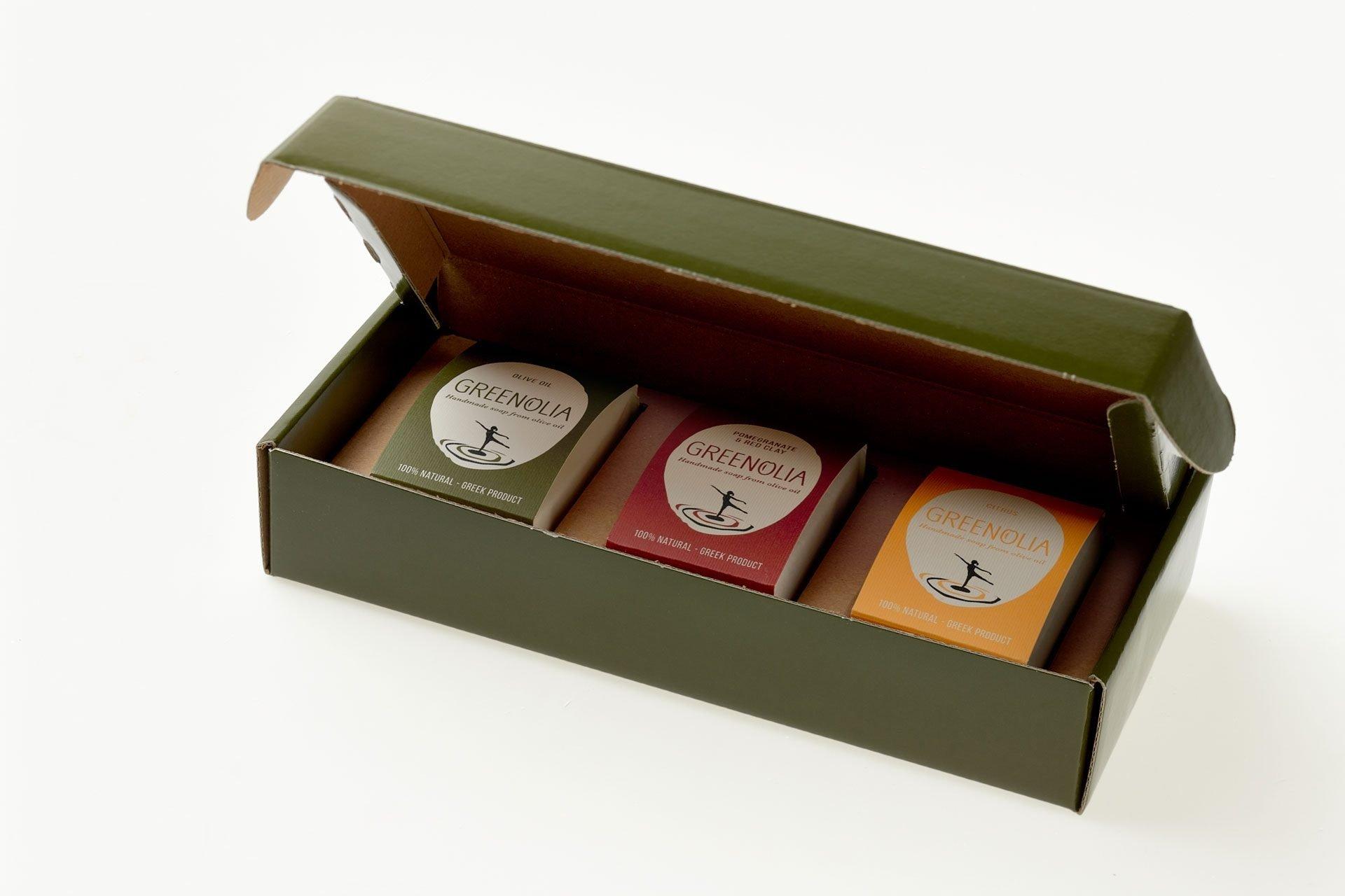 Χειροποίητα Σαπούνια 100g Greenolia - Κουτί Δώρου - Greenolia